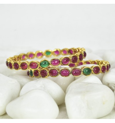 Multicolour Antique Gold Plated Round Kemp Bangles