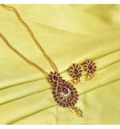 Two Strand MC Ball Antique Magenta Stone Necklace Set