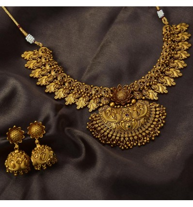 Antique Matte Ruby Floral Peacock Bridal Necklace Set FJ Rate