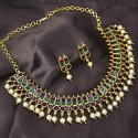 Stunning Ruby Emerald Pearl Hanging Necklace Set