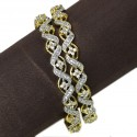 Outstanding Premium Gold Plated CZ's Floral Bangles