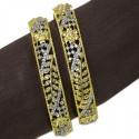 Premium American Diamond Two Tone Floral Bangles