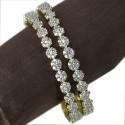 Premium Gold American Diamond Floral Bangles