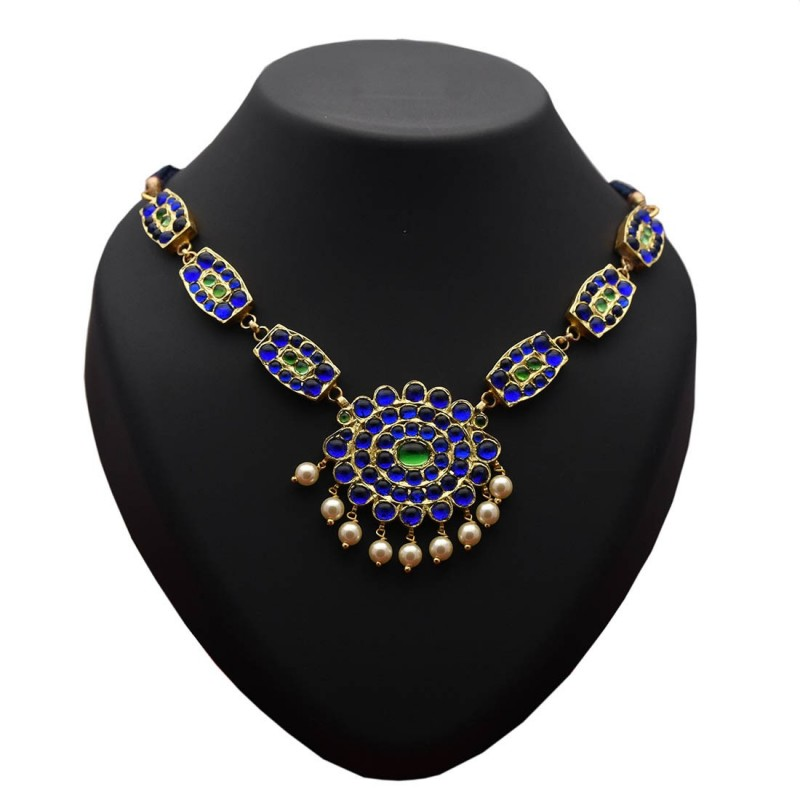 ccf40da3795 Buy Blue and Green Temple Jewellery Necklace Online