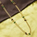 Gold Plated Two Strand Cutting Chain with Multicolour Beads
