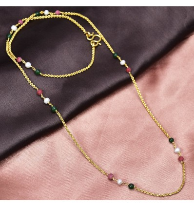 Gold Plated Double Layer Cutting Chain with Multicolour Beads