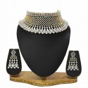 Alluring White Gold Plated AD Broad Wedding|Bridal Choker Set