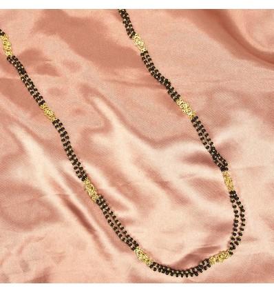 Gold plated Double Strand Big Pendant Mangalstura/Black Bead Mala