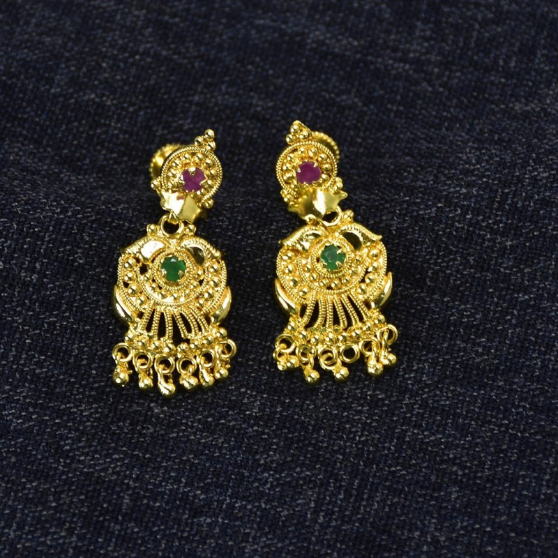 6d7f23b127 Buy Ruby Emerald Golden Drops Earrings for Girls Online|Kollam Supreme