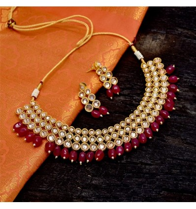One Gram Gold Plated Kundan Choker Set