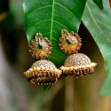 Attractive Intricate Design Peacock Matte Jhumkha Earrings