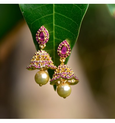 One Gram Gold Plated Small Ruby Pearl Hanging Jimikki