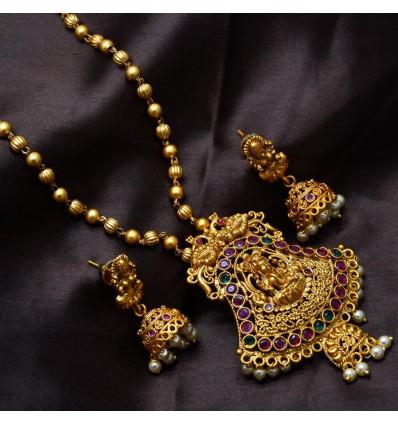 Chettinad Matte MC Ball Ruby Emerald Lakshmi Peacock Pendant Set
