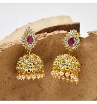 Extravagant Premium Gold Cubic Zirconia Ruby Jhumka/Jimikki Earrings