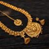 Ethnic Premium Antique Gold Plated Lakshmi Matte Long Chain Set