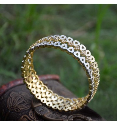 Alluring Two Toned American Diamond Tear Drop Bangles