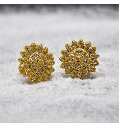 Gold Plated Big Synthetic Stone Sun Flower Studs