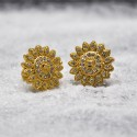Gold Plated Synthetic Stones Big Flower Studs