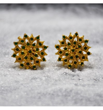 Big Golden Semiprecious Stone Ear Stud