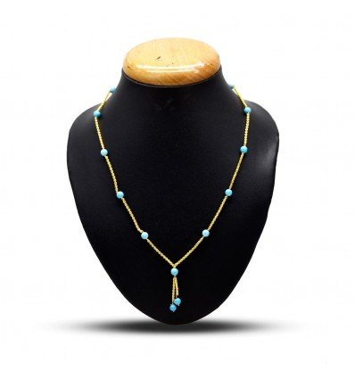 Gold Plated Stone Cutting Chain Necklace