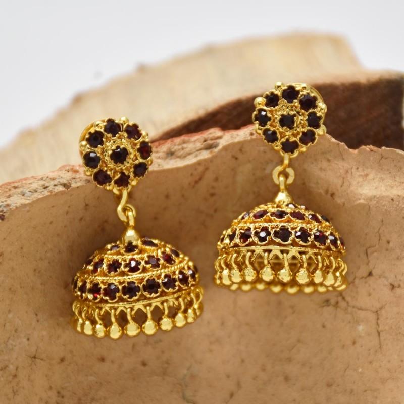 Alluring One Gram Gold Maroon Stone Jhumka