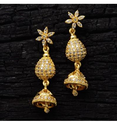Floral American Diamond Jhumka Eardrops