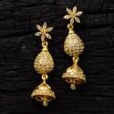 Elegant Floral American Diamond Jhumka Eardrops