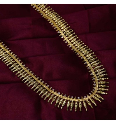 Gold Plated Designer Cone Long Chain With White Stone
