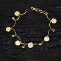 Gold Plated white stone and Decagon Motifs dangling Bracelet