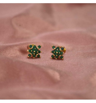 Gold Plated Square Ruby|Emerald Stone Studs