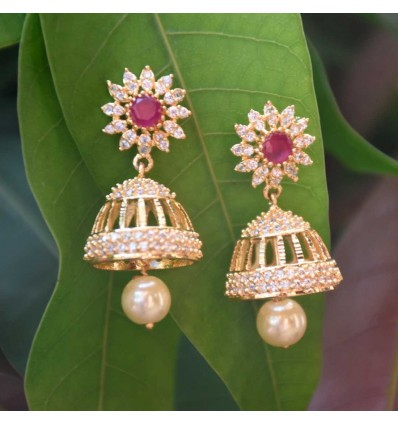 Charming Premium Gold Plated Cz Ruby Jhumka/Jimikki Earrings