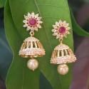 Charming Premium Gold Plated Cz Ruby Jhumka Earrings