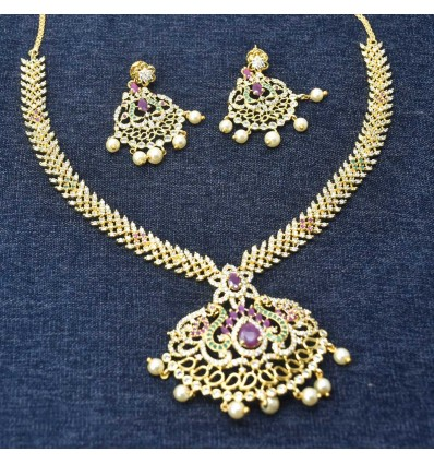 Dainty Premium Gold Plated CZ Ruby Emerald Necklace Set