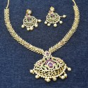 Dainty Premium Gold Plated CZ Ruby Emerald Long Necklace Set