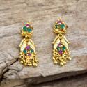 Semi-precious Ruby Emerald Stones Drops Earrings