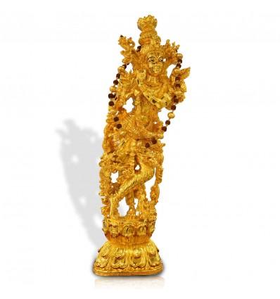 Radha Krishna Gold Plated Idol