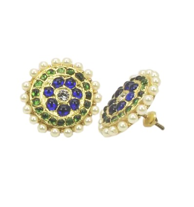 Real Temple Jewellery Big BG Round studs with Pearl Beads