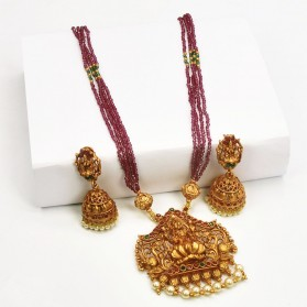 Lakshmi Peacock Multi-layer Maroon Beads Necklace Set