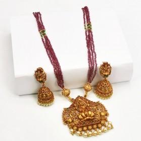 Lakshmi Peacock Multi-layer Maroon Beads Necklace Set