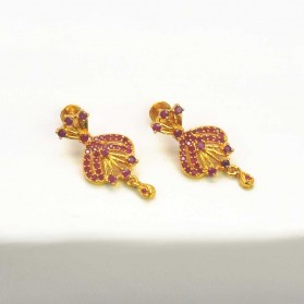 Beautiful Gold Plated Ruby Stones Earrings