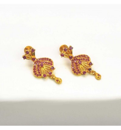 Beautiful Gold Plated Ruby Stones Floral Drops Earrings