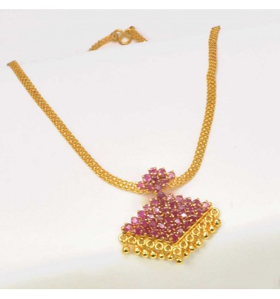 Gold Plated White Stone Adial Necklace