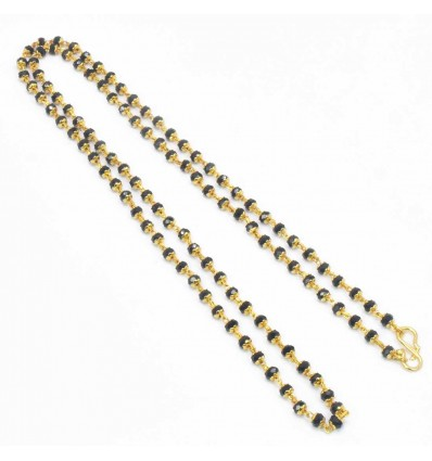 Gold Plated Two Strand Black Crystal Mala