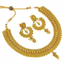 Trendy Antique Gold Plated Jalebi Necklace Set