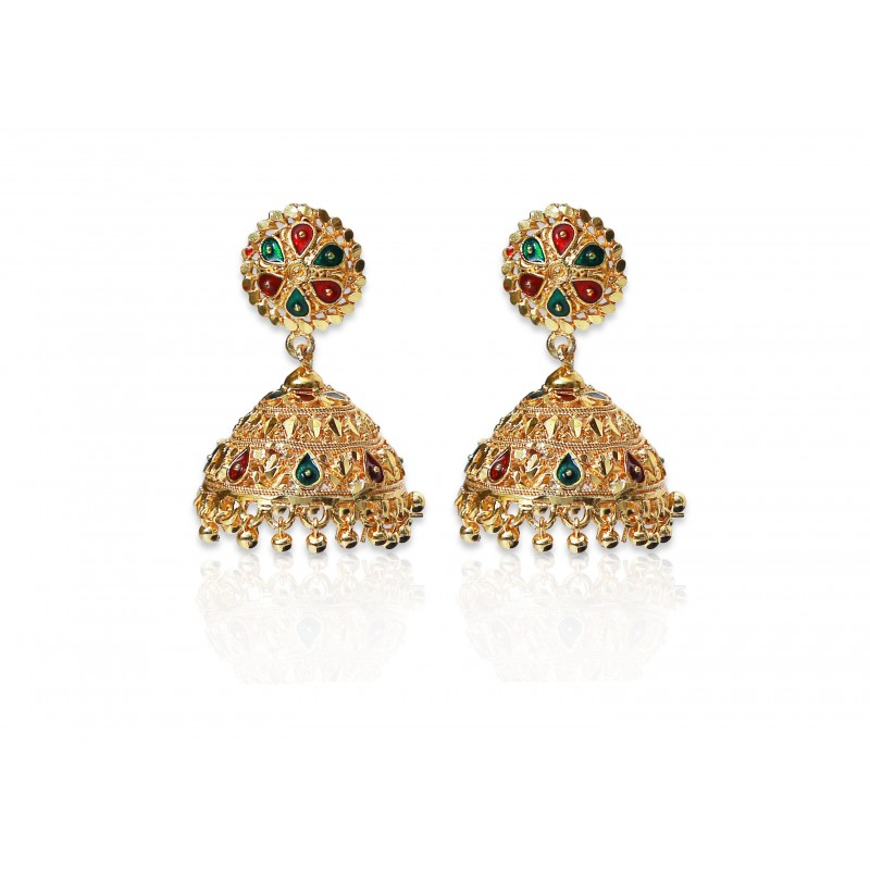 ethnic maang colour ankur brass all tikka details beads plated jewellery product gold earrings multi for imitation and