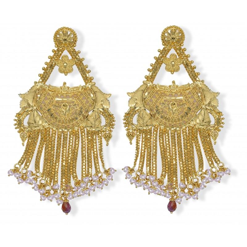 Buy Gold Plated Bridal Pink beads Ear Rings line Kollamsupreme