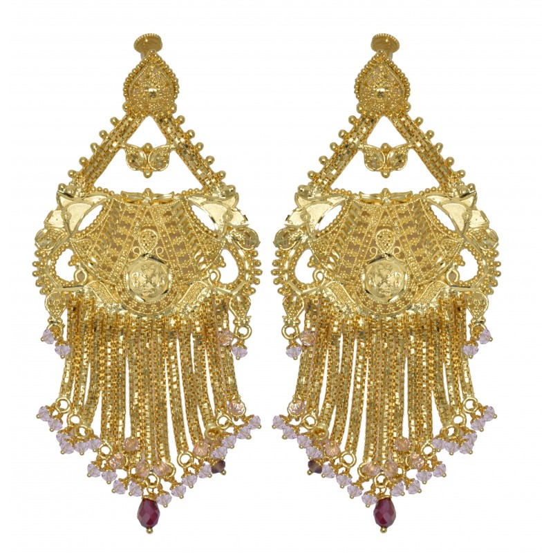 Bridal earrings gold plated kollam supreme premium fashion gold plated bridal pink crystals ear rings arubaitofo Gallery