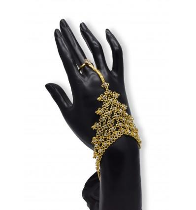 Gold Plated White Stone Finger Set