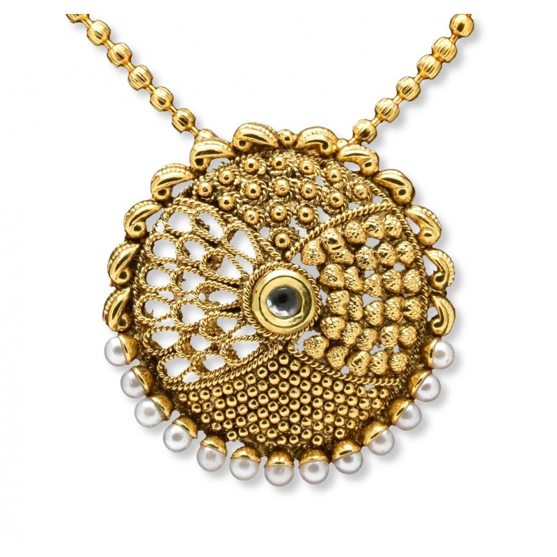Buy antique mc ball chain with designer pendant onlinekollamsupreme antique mc ball chain with chandbali pendant sets mozeypictures Gallery