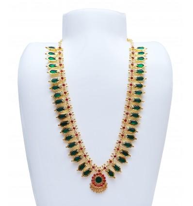 Kerala Traditional green broad Nagapadam Necklace